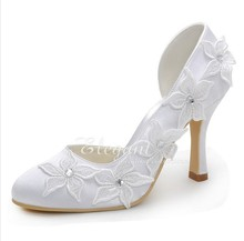 Sparkling White Bridal Dress Shoes High Heel Lady Party Dress Shoes Lovely Flower Elegant Satin Wedding Shoes  Plus Size Pumps