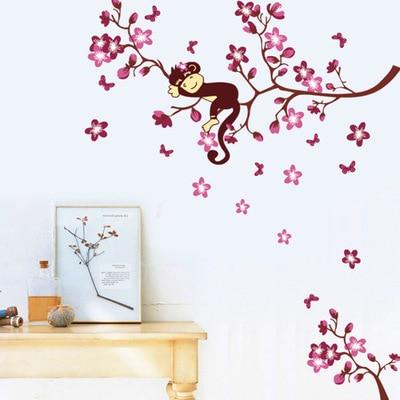 Kutilství roztomilé ospalé opice na větvi vinylové samolepky květ domácí obtisky dětský pokoj školka nástěnná dekorace naviják nálepka
