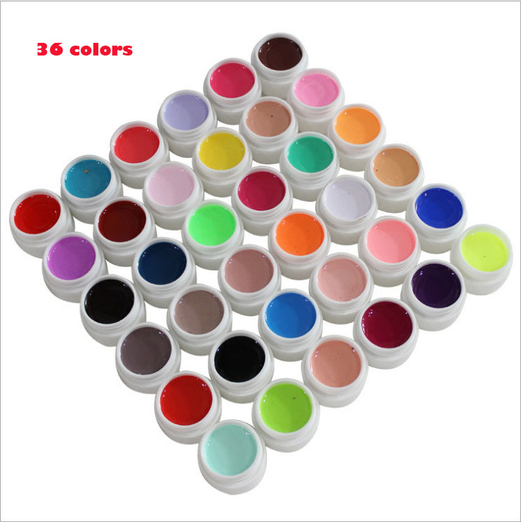 36 colores / set Pure Color uv gel Nail Art Tips Shiny Cover - Arte de uñas - foto 6