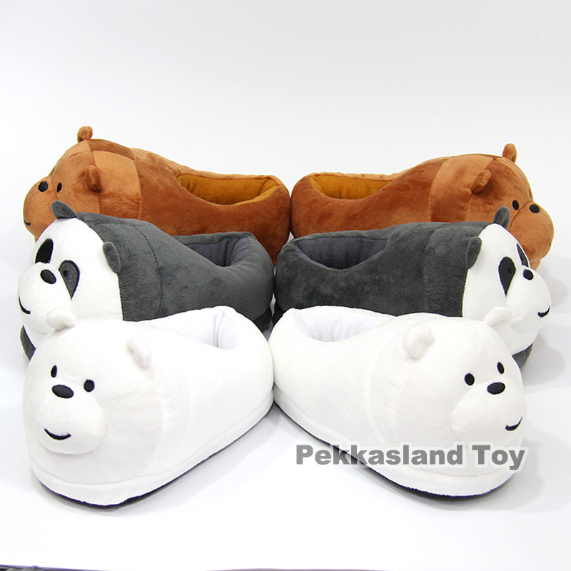 We Bare Bears Panda Grizzly Ice Bear Koala Nom Nom Plush Slippers Winter Indoor Warm Shoes Soft Stuffed Toys