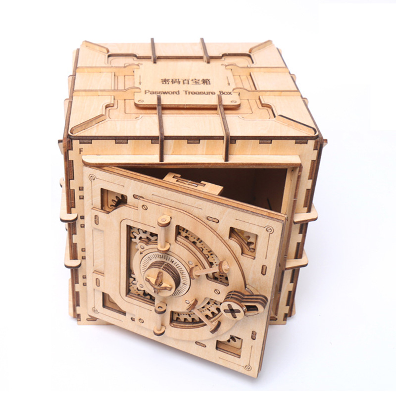 DIY 3D Password Treasure Box Woodcraft Assembly Kits Puzzle Game Toy Gift for Birthday Wedding Valentine's day Mother's Day