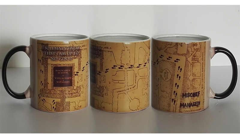 Drop shipping Marauder Map kubek na kawę zmieniający kolor magiczny wrażliwy na ciepło kubek do herbaty kubki dla przyjaciół