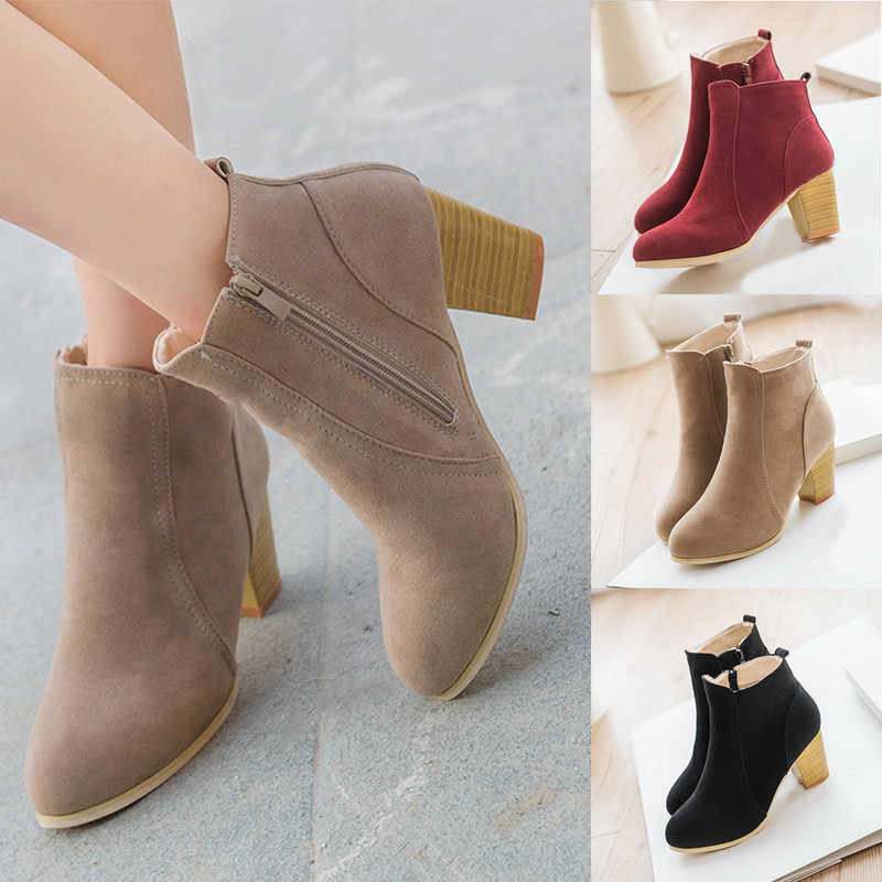 Laamei 2019 Women Boots Flock Ankle Boots Spring Autumn Women Boots Ladies Party Western Stretch Fabric Boots Plus Size 35-42