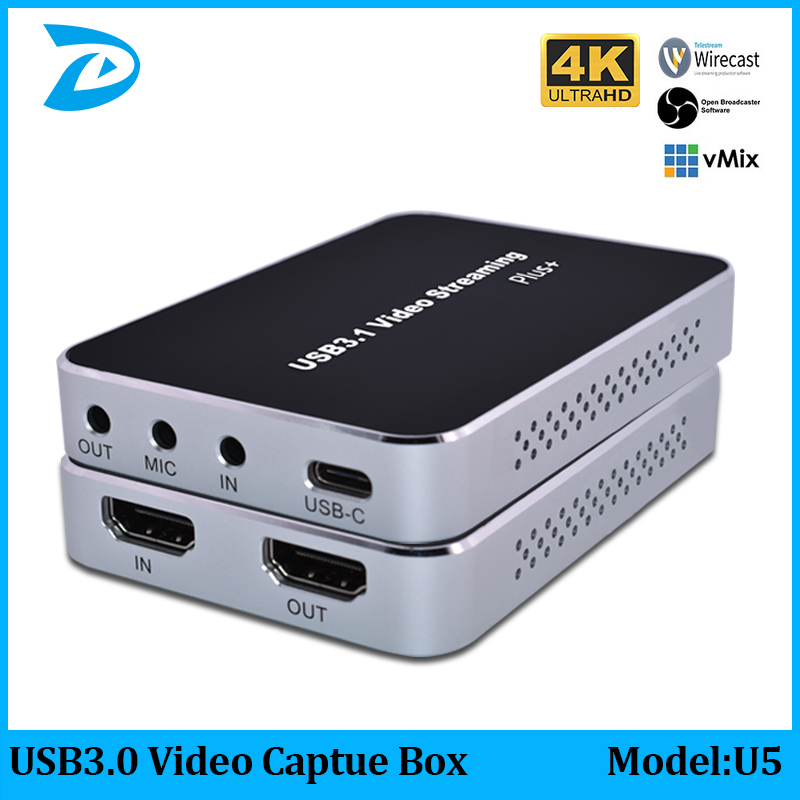 4K30 Video Capture HDMI to USB3.0 Video Capture Card Dongle Game Streaming Live Stream Broadcast Recorder Adapter can Microphone