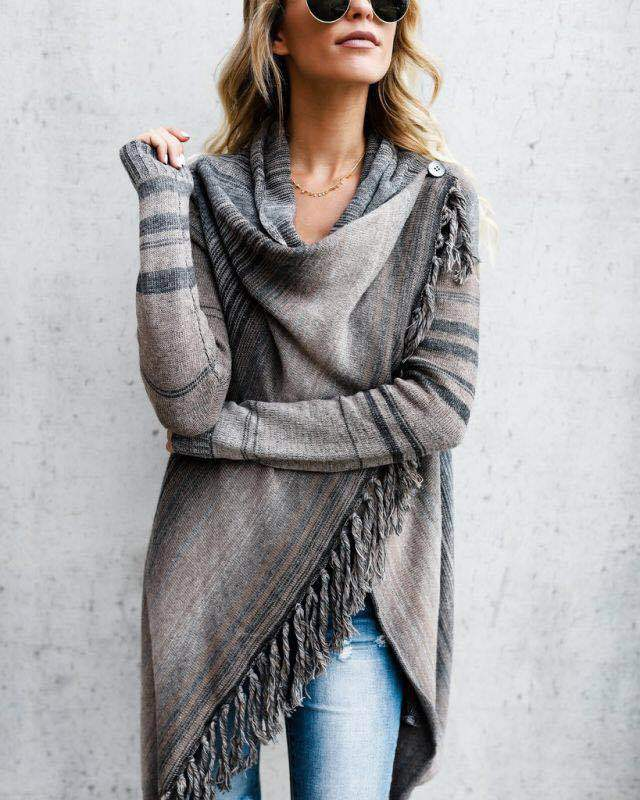 Chic Sweater Scarf Tassel Computer Knitted American-Style Woman European And Solid Slim