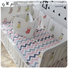 Promotion! 6PCS Cute Baby Cot Set 100% Cotton Crib Set For Kids,4-7 Pcs Baby Bedding Set Unpick (bumpers+sheet+pillow cover)