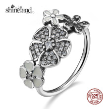 Shineland 2017 New Silver Enamel Flower Finger Ring Fashion Poetic Daisy Cherry Hot Ring for Women Engagement 925 Silver Jewelry