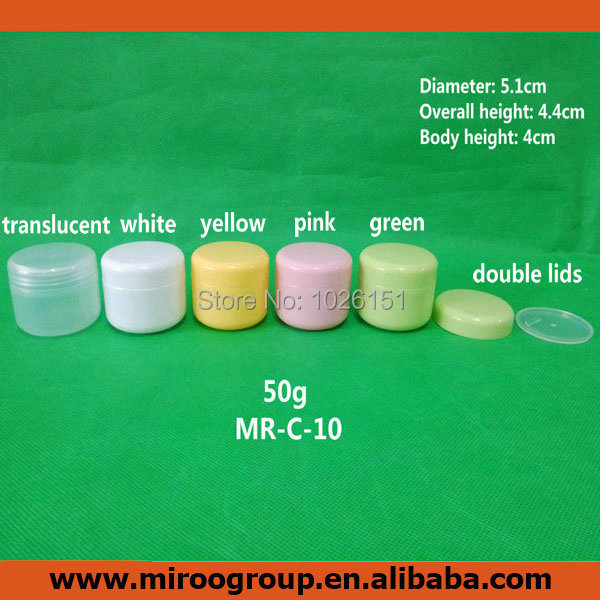 Free Shipping 80PCS 50ml 50g Round Plastic PP Cosmetic Jars, Empty Cosmetic Cream Jar 50g, Recycled Plastic Jars For Cosmetics
