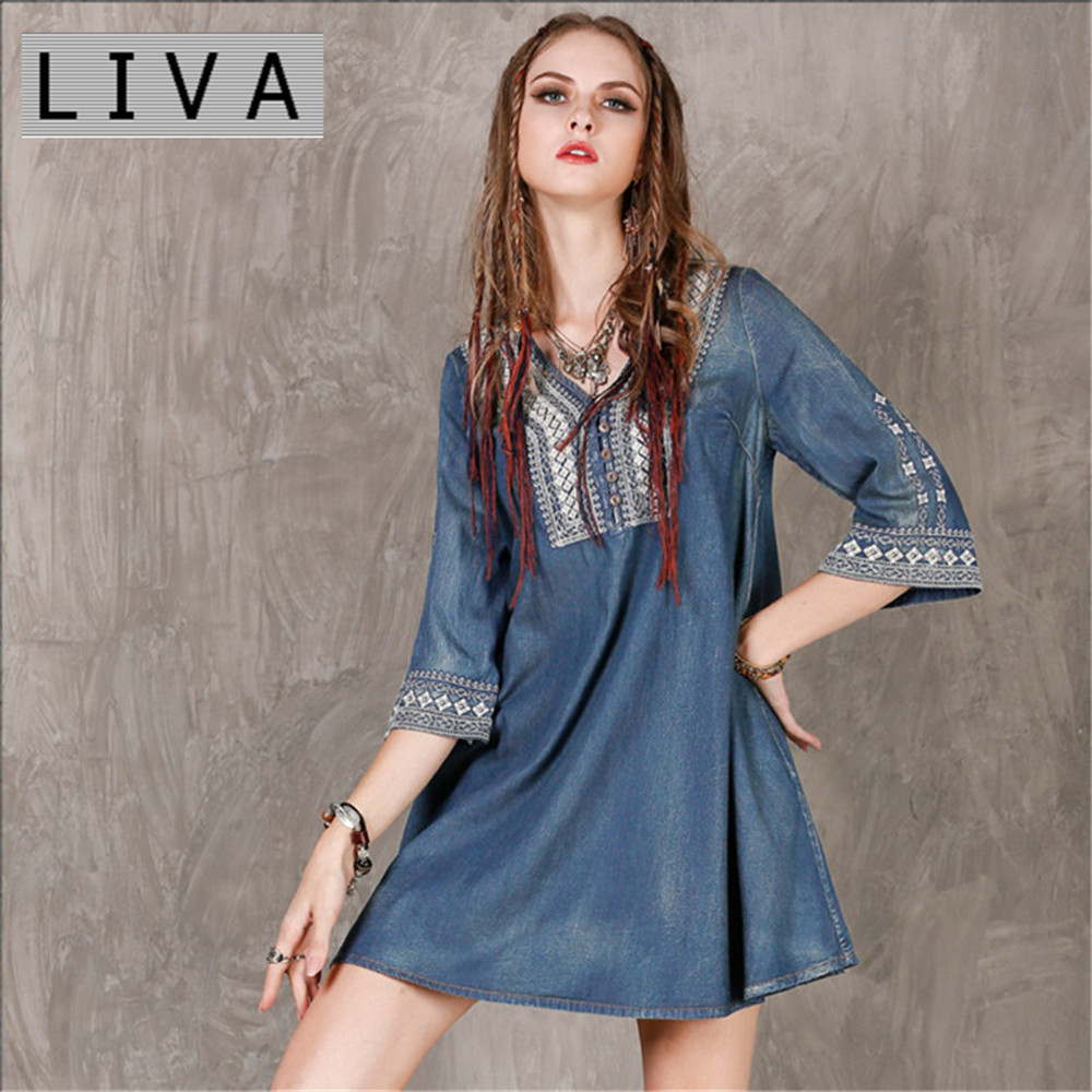 Vintage Spring Dress 2017 LIVA New Denim Big Size Women Dresses V Neck Loose A line