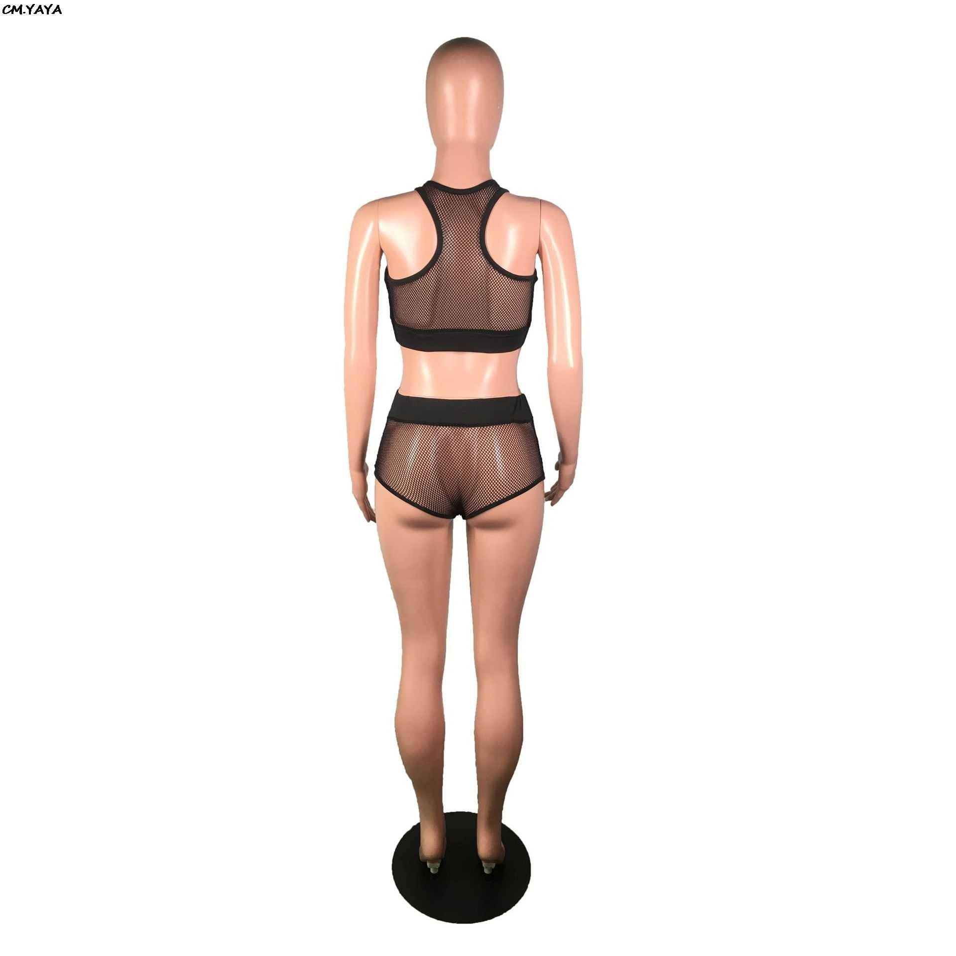 2019 חדש נשים קיץ גזה רשת רשת לראות אם כי גופייה טי מכנסי חליפת 2 pcs סט חוף אימונית תלבושת 2 צבע YZ1025