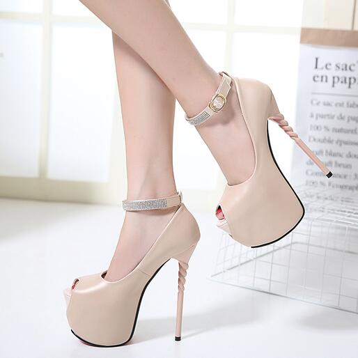 Summer shoes sexy High Heels shoes nude pumps peep toe stilettos heels  rhinestone pumps wedding shoes ankle straps heels D1051-in Women s Pumps  from Shoes ... 681314e3c420