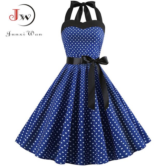 Sexy Halter Party Dress Retro Polka Dot Hepburn Vintage 50s 60s Pin Up Rockabilly Dresses Robe Plus Size Elegant Midi Dress 1