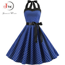 Seksi Halter Gaun Pesta 2018 Retro Polka Dot Hepburn Vintage 50 S 60 S Pin Up Rockabilly Gaun Gamis PLUS ukuran Elegan Gaun Midi(China)