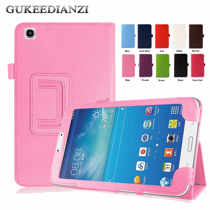 finest selection ee8dd 764c6 US $4.62 30% OFF|GUKEEDIANZI Stand Leather Case For Samsung GALAXY Tab 3  8.0 SM T310 T311 8 Inch Flip Leather Folded Rotate Tablet Cases Cover-in ...