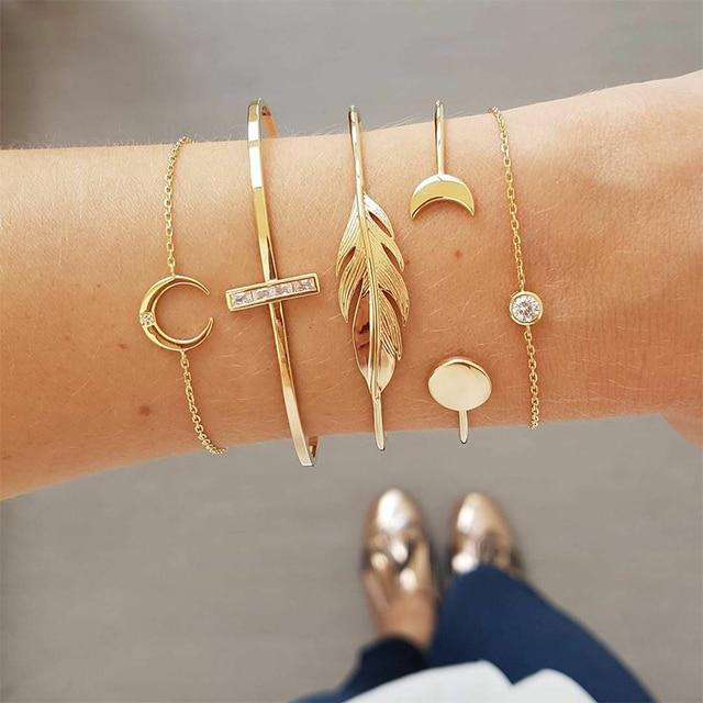 5 Pcs/ Set Retro Leaves Cross Moon Round Crystal Geometry Women Adjustable Gold Bracelet Set Female Charm Valentines Day Gift