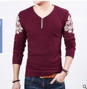 Наборы новых мужских трикотажных хлопковых свитеров с круглым вырезом колледжа ветра Мужской свитер - Цвет: Красный