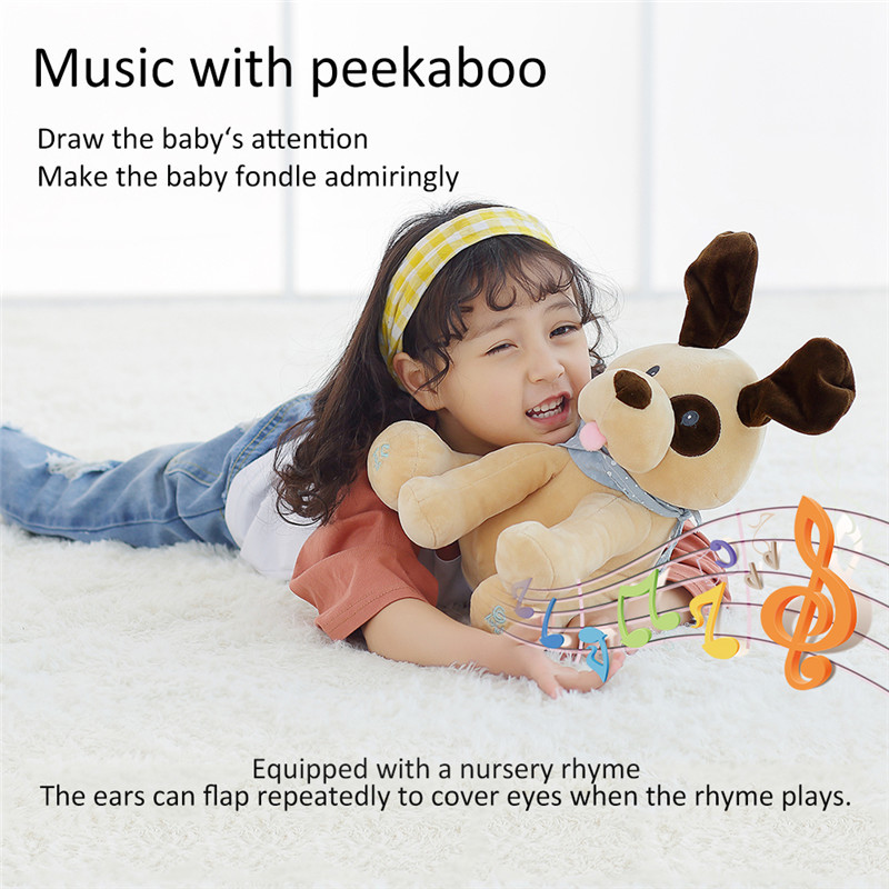 Funny Peek a boo Puppy Dog Plush Toy Electronic Flappy dog Play Hide And Seek Baby Kids Soft Doll Birthday Gift For Children a puppy for annie