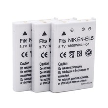 Akku para Nikon 3 Pcs 1800 Mah Baterias DA Câmera Enel5 En-el5 EN El5 Bateria Batteria Coolpix P80 P90 P100 P500 P510 P520