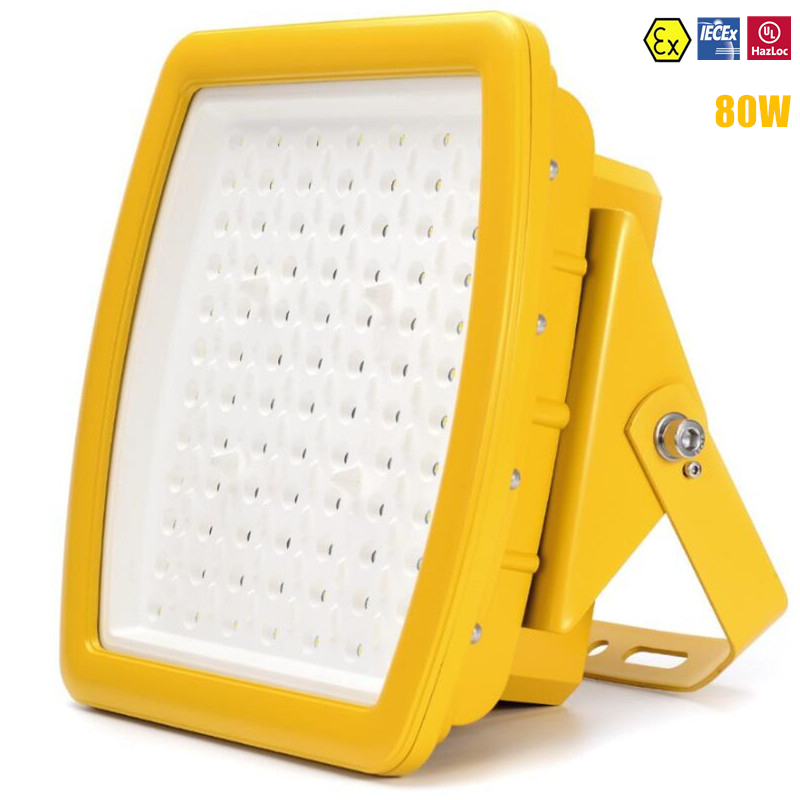 ATEX UL IECEx Explosion Proof LED Highbay Light 80w Class 1 Zone 2 Explosion Proof Light AC100V-277V UL DLC LED Flood Light