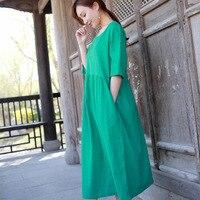 New Mẫu Gốc Suit-dress Cotton Váy Mùa Hè Ngọt Ngào Màu Rắn Trong Tay Áo Sẽ Kiểu Con Lắc Cơ Bản Quỹ Dễ Dàng Longuette
