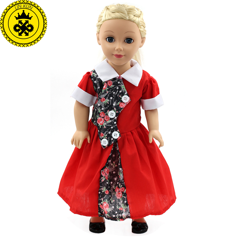 My Generation Doll Clothes Multicolor Princess Dress Doll Clothes for 18 inch Dolls American Girl Doll Accessories 15Colors D-14