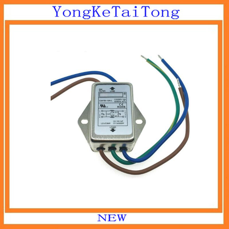 1PCS/LOT EMI Filter CW1B-10A-L 10A 115V 250V CW1B 50/60Hz