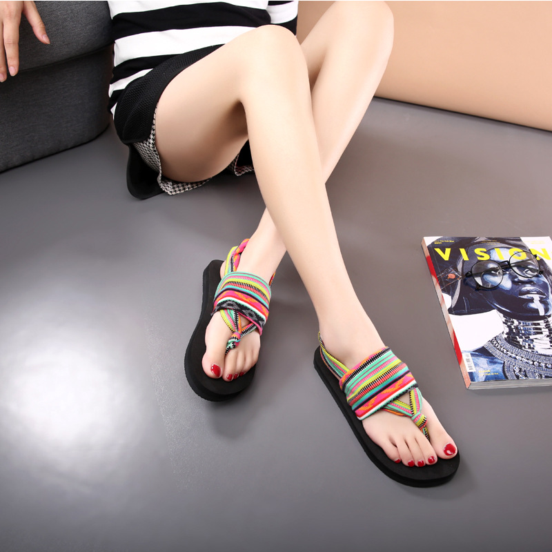 2018 New Summer Black Beach Shoes Woman Bohemia Sandals Non-Slip Flat Women Flip Flops Sandals Elastic band Sandals fongimic summer women flat shoes comfortable casual all match beach sandals high quality girl beach flowers elastic band sandals