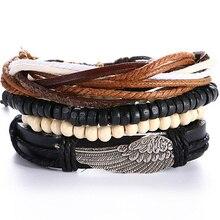 4 PCS/SET Punk Turkish Wing Bracelets for Women Men Beads Wristband Cuff Leather Bracelet Ethnic Vintage Jewelry Bijouterie