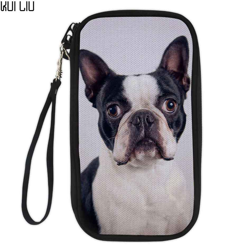 Customized Image Pug Bulldog Shih Tzu For Wallets Zipper Purses Ladies Clutch Phone Passport Holders Portemonnee Bags