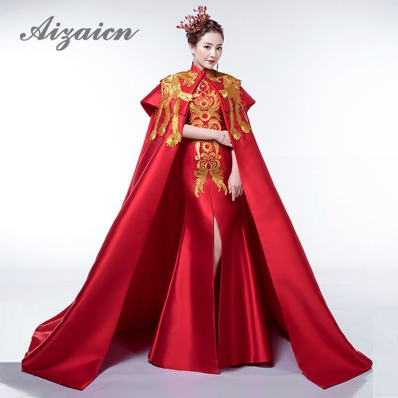 Wedding Gown Fashion Show: Luxury Red Tailing Evening Dress Elegant Fashion Show