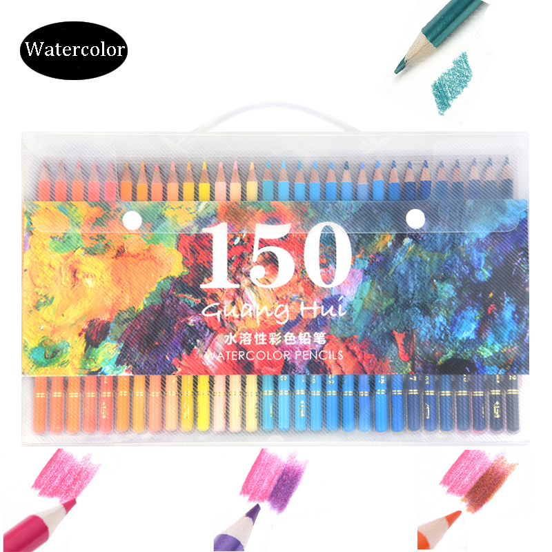 Supérieure 150 couleurs aquarelle crayons bois Soluble dans l'eau crayons De couleur ensemble pour Lapis De Cor peinture croquis Art fournitures