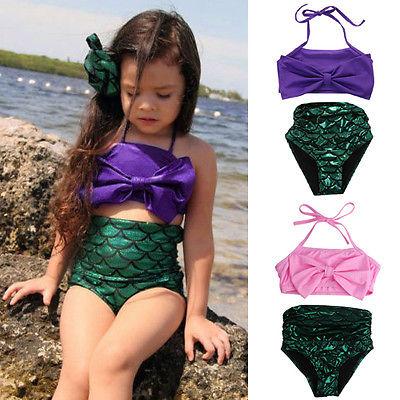 2-14Y Multi-Colors Mermaid Bikini Baby Girl Swimwear Bathing Suit Girsl Swimsuit Summer Beach Bikini Set Kids Swimming Biquinis