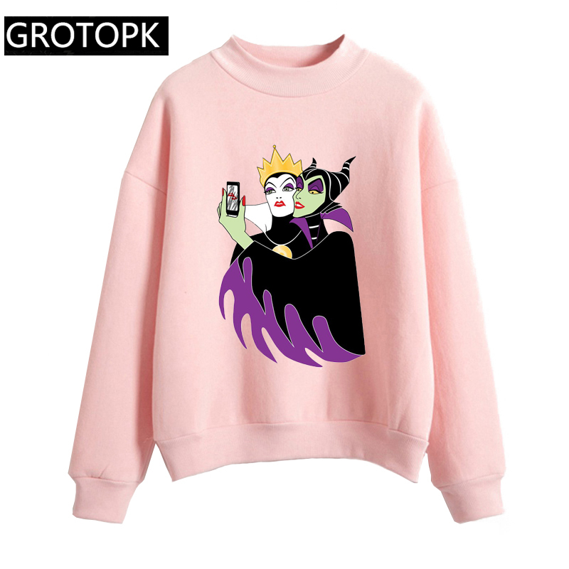 Grimhilde & Maleficent Selfie Autumn Women Hoodie Casual Long Sleeve Hooded Pullover Sweatshirts The Evil Queen Hoody Female