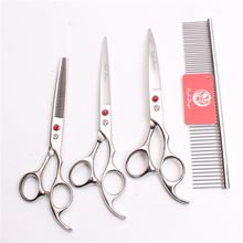 Z3003 4Pcs 7 Silver Steel Comb + Cutting Shears Thinning Scissors Down Curving Professional Pets Hair Suit