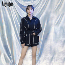 Auyiufar Reflective Striped Streetwear Rompers Womens Jumpsuit Sashes Casual Fashion Long Sleeve Playsuit 2019 Autumn Playsuits