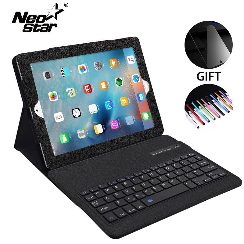Wireless Bluetooth Keyboard Protecter Case For iPad Air 2 For iPad 5 6 Removable Leather Case Stand With Keyboard Sticker