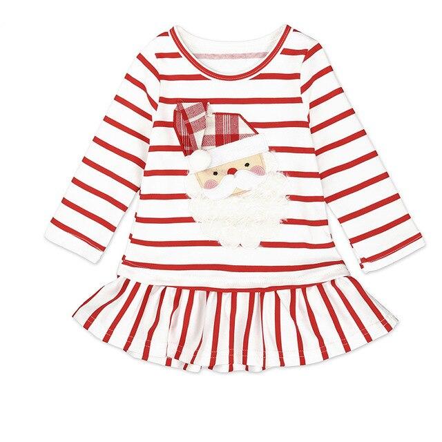 Dress For Girls Long Sleeved Printed Santa Claus Dresses Newborn