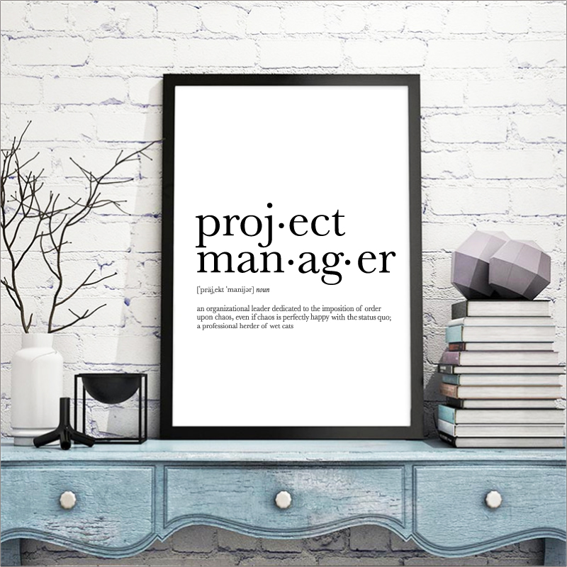 funny project manager definition minimalist poster office. Black Bedroom Furniture Sets. Home Design Ideas