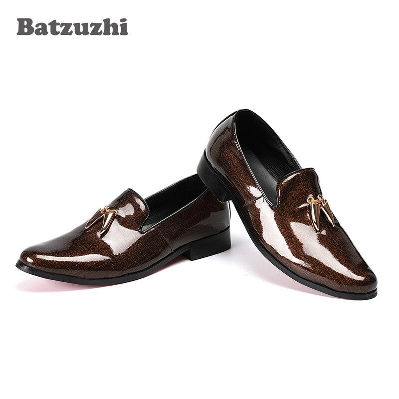 Marron Véritable Italien Robe Brun rouge En Les Glissement Marque Batzuzhi Mocassins Designer Cuir Sur De Hommes Chaussures Luxe TFKJlc1