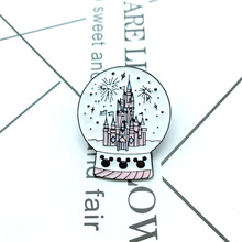 New fashion crystal ball castle brooch children cartoon funny dream badge cowboy clothes backpack pendant gem gift