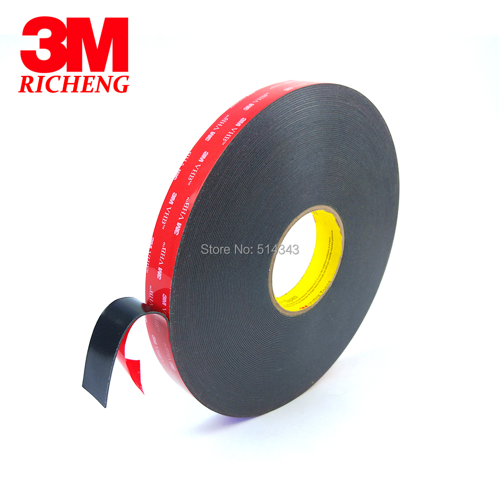 1Roll/Lot 3M VHB 5952 Heavy Duty Double Sided Adhesive Acrylic Foam Tape Black 15MMx33Mx1.1MM 1piece 3m vhb 5952 heavy duty double sided adhesive acrylic foam tape black 150mmx100mmx1 1mm