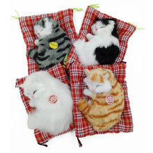 Electronic Pets Stuffed Toys Lovely Animal Cat Doll Plush Sleeping Cats Toy with Sound Kids Toy Birthday Gift For Children