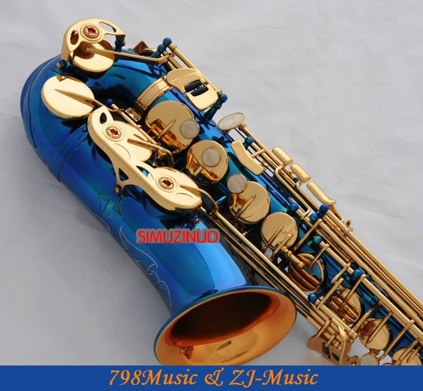 Blue Paint Gold Bell Alto saxophone Sax High F# Eb Keys saxofon With Case professional red antique alto saxophone sax high f engraving with case