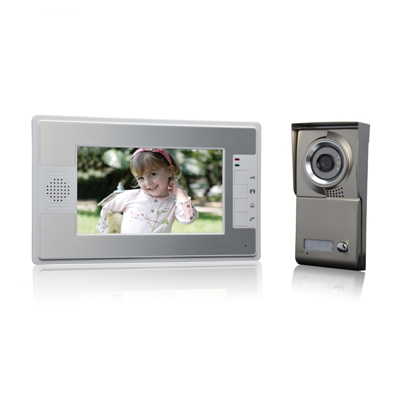 (1 set) NEW 7 inch colorful display 600TVL line HD One to One Video Door Phone home use talk back intercom waterproof camera 1 set hd 7 inch colorful display aluminium case one to one video door phone system rfid card unlock wired intercom camera