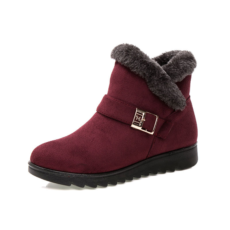 Wine Red Snow Winter Boots New 2018 Fashion Short Plush Keep Warm Wedge Botas Women's Casual Shoes Buckle Black Ankle Boots