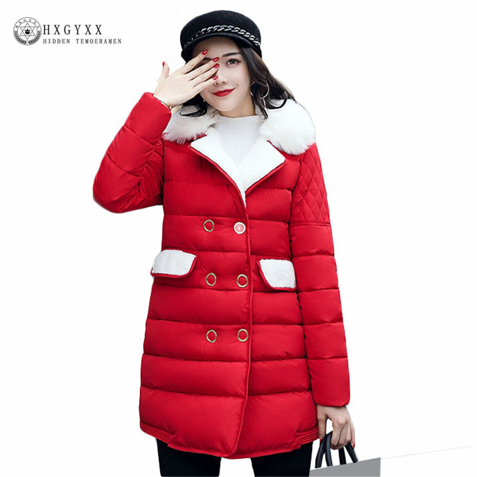 parkas for women winter 2017 fashion big fur turn-down collar double breasted slim cotton-padded jacket warm wool coat ok423 europe 2015 new women winter coat slim turn down collar long double breasted leather match cotton jacket coat w20