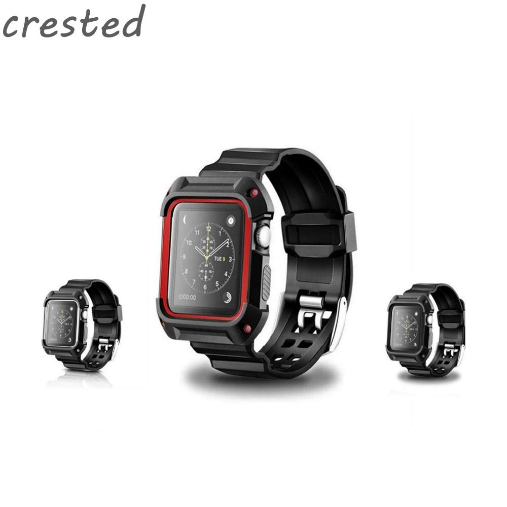 AIGRETTES sport bracelet en silicone pour apple bande de montre 42mm 38mm poignet bracelet bracelet + étui de protection pour hommes/femmes iwatch 2/1