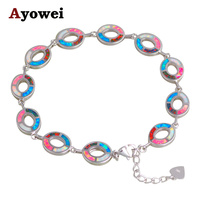 Trendy Jewelry Color Fire Opal Charm Bracelets Silver Stamped Lowest Price Fashion Jewelry For Women