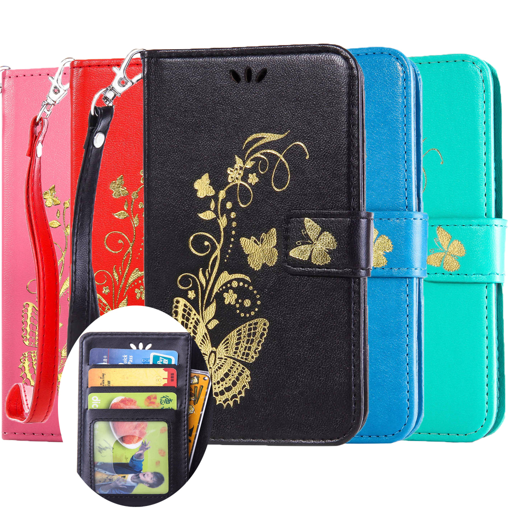 Gilding Butterfly Wallet Flip Leather Case sFor Samsung Galaxy S7 S6 Edge S5 S5Mini S4 S4Mini S3 S3Mini Note 5 Note4 A3 A5 Cover