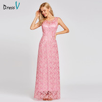 Dressv Peach Long A Line Evening Dress Backless Cheap Scoop Neck Lace Sequins Wedding Party Formal